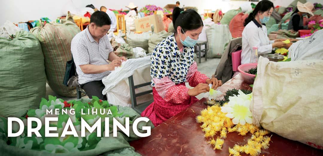 Worker making flower
