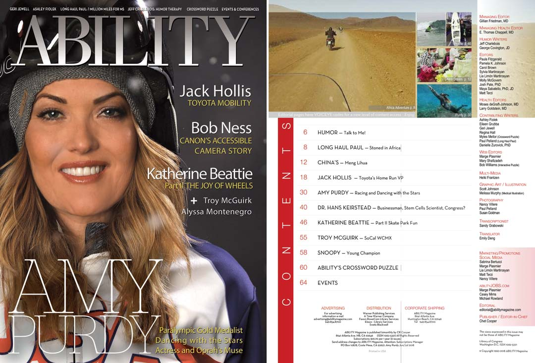 Amy Purdy Issue Cover and Table of Contents
