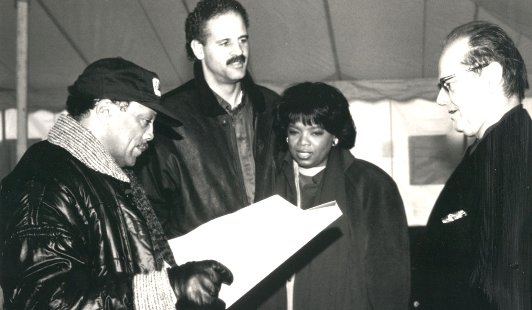 Quincy Jones with Stedman Graham, Oprah-Winfrey and Jack Nicholson for An African-Reunion