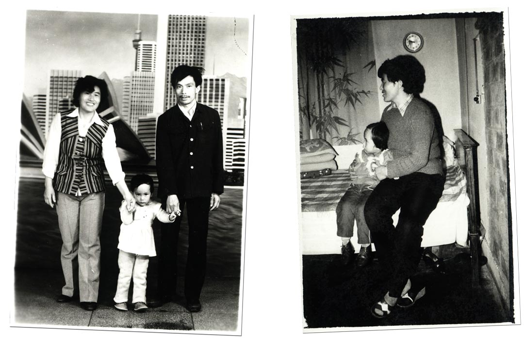 Jing Hu and parents childhood pictures