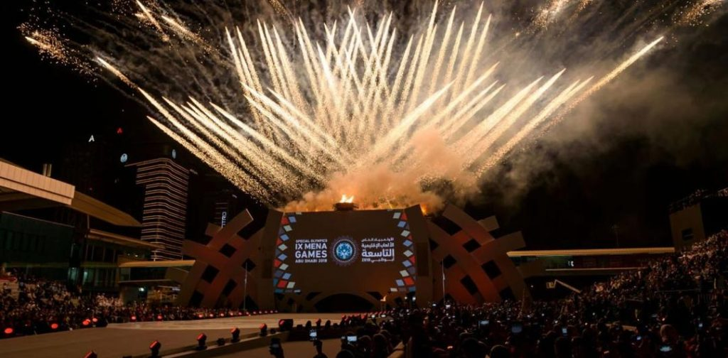 Fireworks during the Special Olympics World Games Opening Ceremony