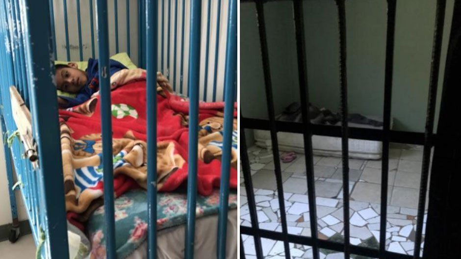 Two images, a child and an adult with disabilities detained behind bars in Mexico