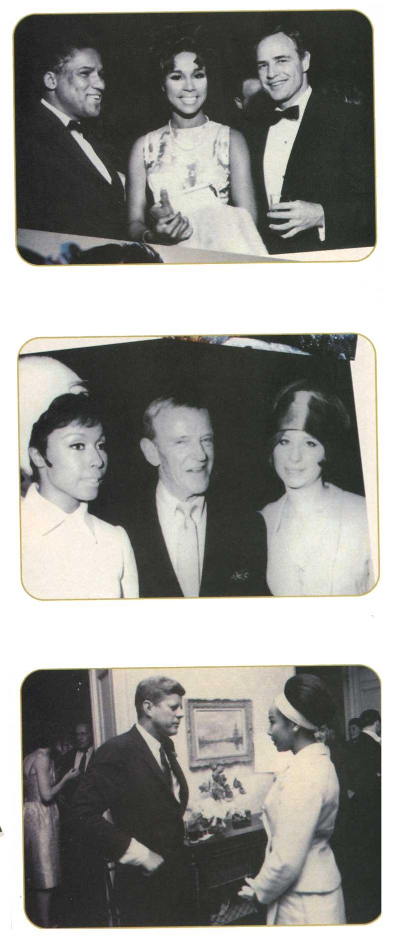 Diahann Carroll with Marlon Brando, Fred Astaire, Barbra Streisand, President John F. Kennedy