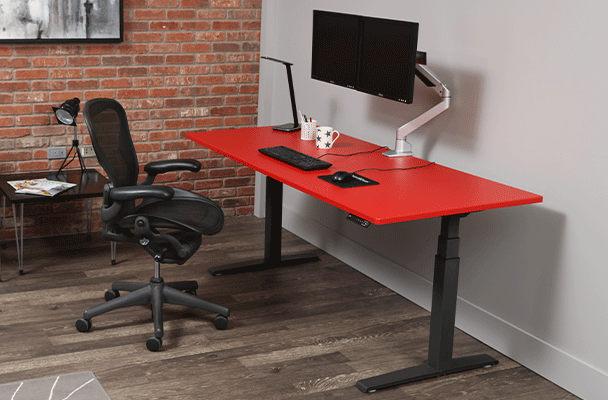 Red adjustable desk