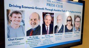 Senator Tom Harkin (D-IA), Vinton Cerf, Rob Wong, Chet Cooper, Kim Charlson and Gregg Vanderheiden