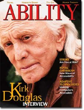 Kirk Douglas OCver of ABILITY Magazine