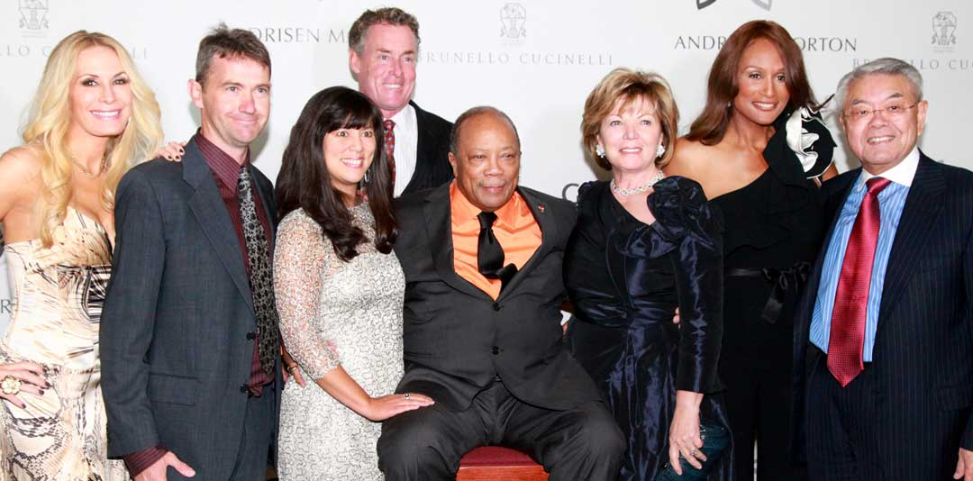 Front row, L to R: Real Housewives of Orange County reality star Peggy Tanous, Tom Whitten, Global Down Syndrome Foundation co-founder Michelle Sie Whitten, music icon and humanitarian Quincy Jones, philanthropists Anna Sie and John Sie, who have given their medical research team until 2017 to eradicate the negative effects of Down syndrome. Back row: actor John C. McGinley and supermodel Beverly Johnson.