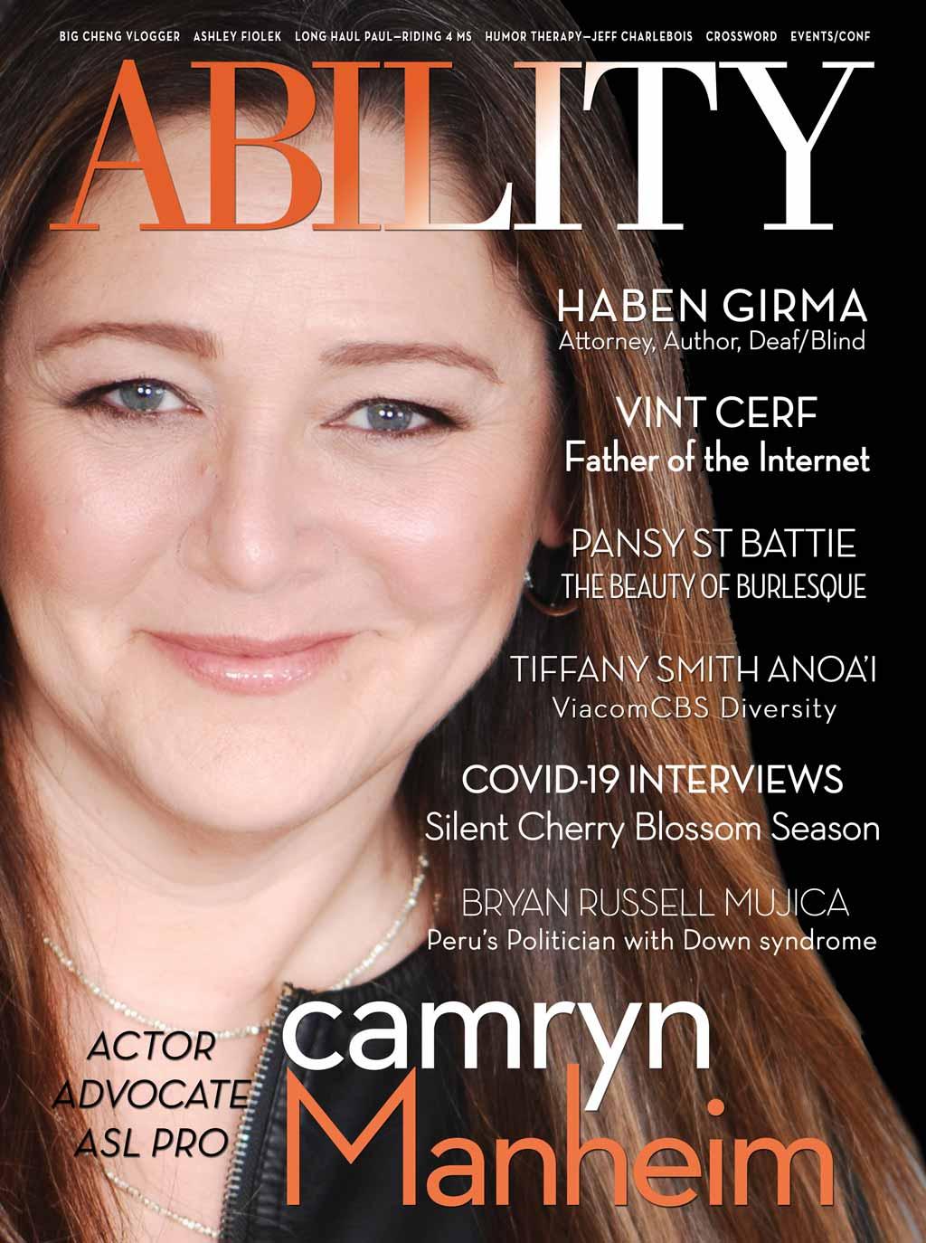 ABILITY Magazine Camryn Manheim cover Apr/May 2020