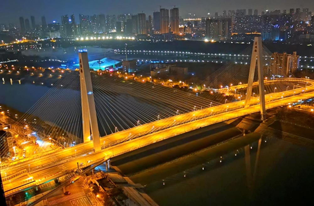 The Rainbow bridge in Wuhan without traffic