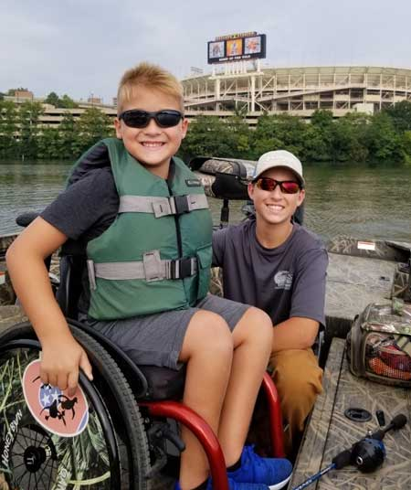 Max and brother Owen Blake going fishing