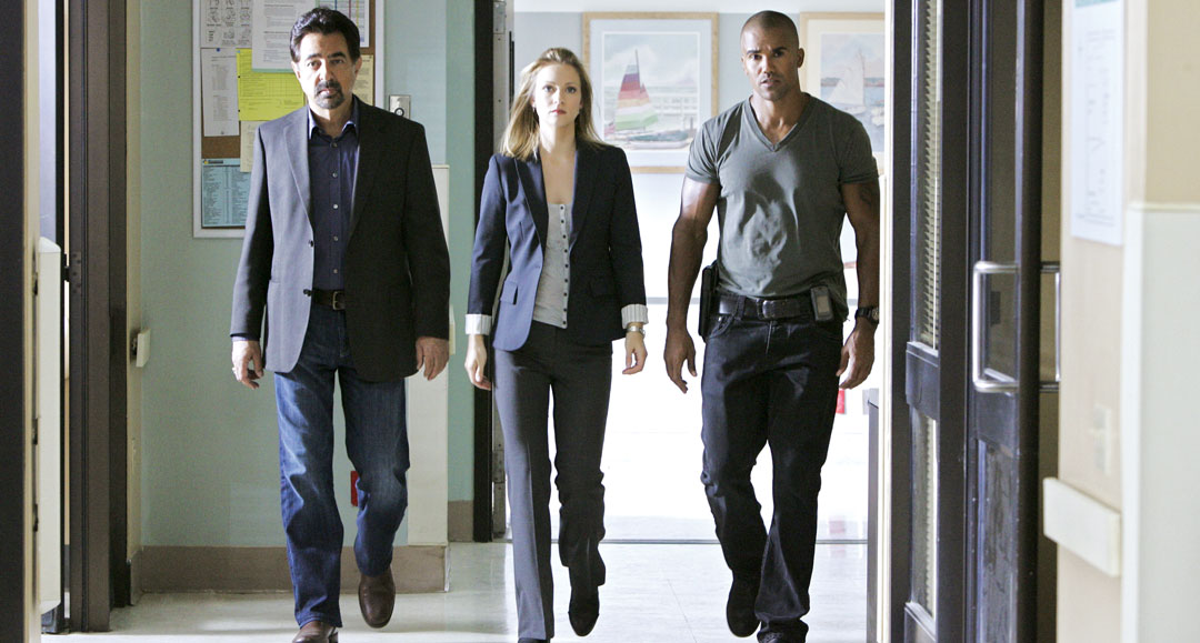 "Joe Mantegna, AJ Cook and Shemar Moore on the set of ""Criminal Minds"""
