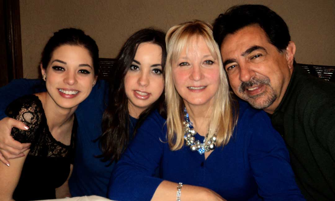 The Mantegna family — daughters Gia and Mia, wife Arlene and Joe.