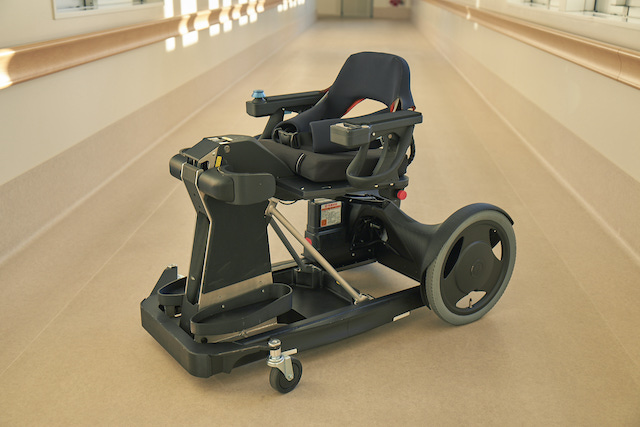 A standing mobility device that integrates exoskeleton and wheelchair functions.
