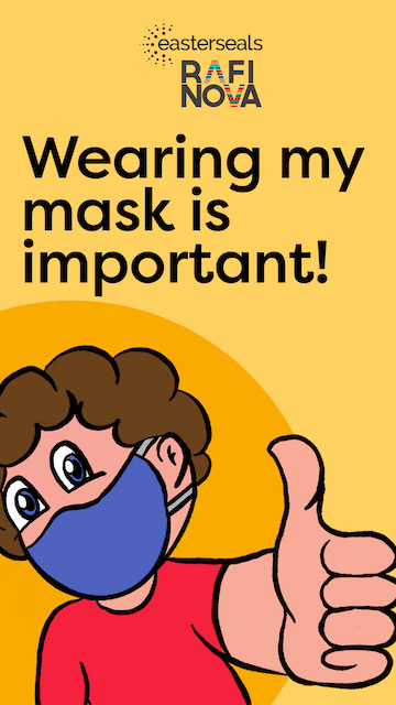 A comic with a person wearing a face mask showing a thumbs up and the words: Wearing my mask is important!