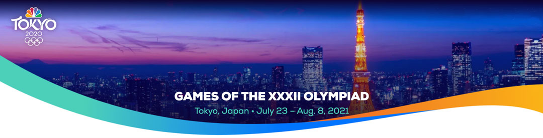 The skyline of Tokyo, Japan with the text: Games of the XXXII Olympiad, Tokyo, Japan - July 23 - August 8, 2021